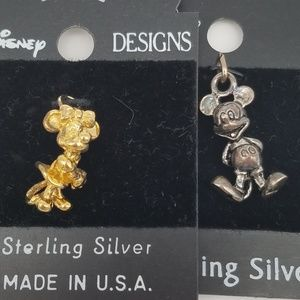 Disney Sterling Silver Mickey & Minnie Charms NWT